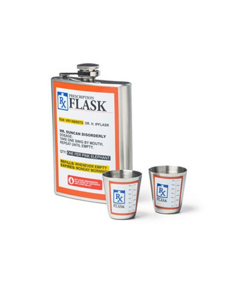 Prescription Hip Flask Gift Set