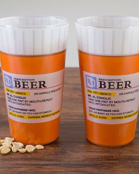 Prescription Pint Glass Set of Two